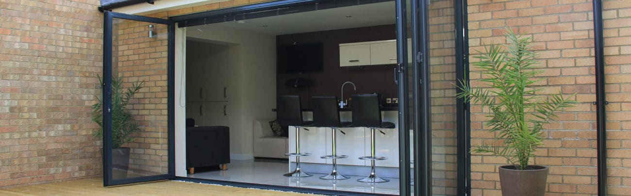 Photo showing a bifold door made by IDSystems
