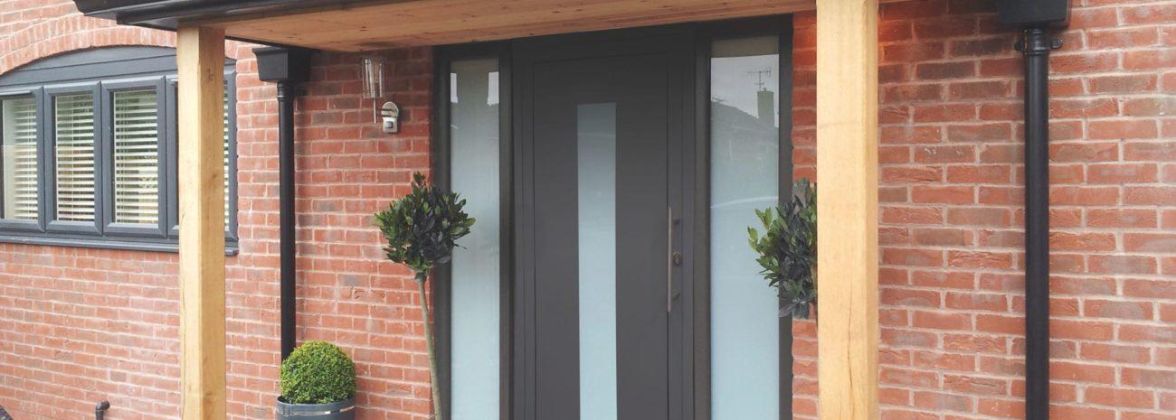 Photo of an IDSystems aluminium front door in grey
