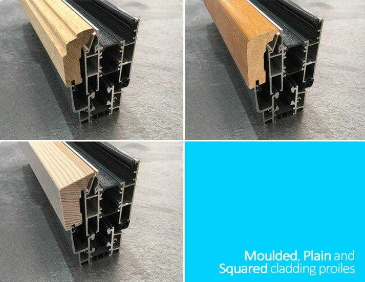 Composite bifold door cladding profiles
