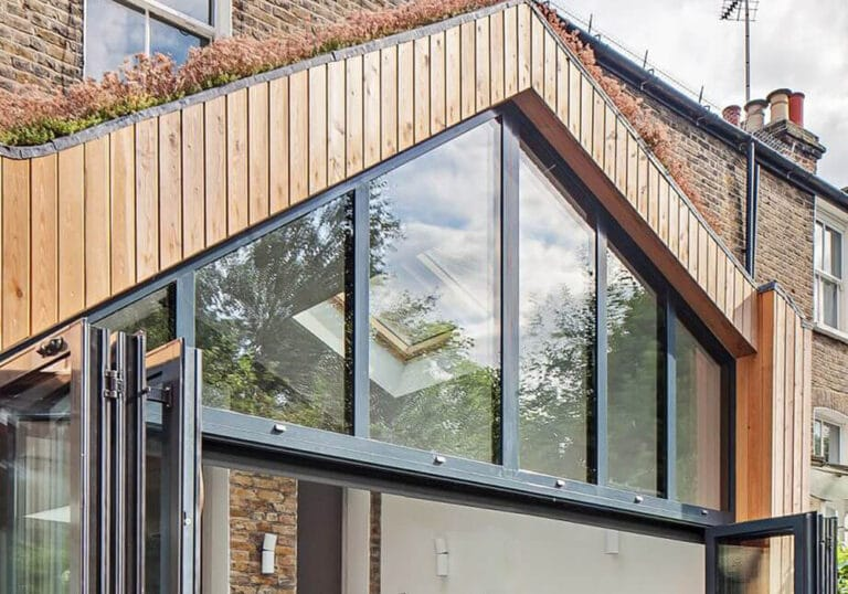 Gable end glazing above bifold doors
