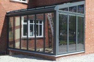 Lean-to roof with angled fixed frame glazing