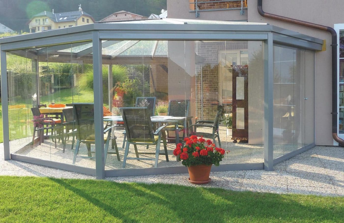 Photo of SUNFLEX Slide and Turn Doors being used for a conservatory