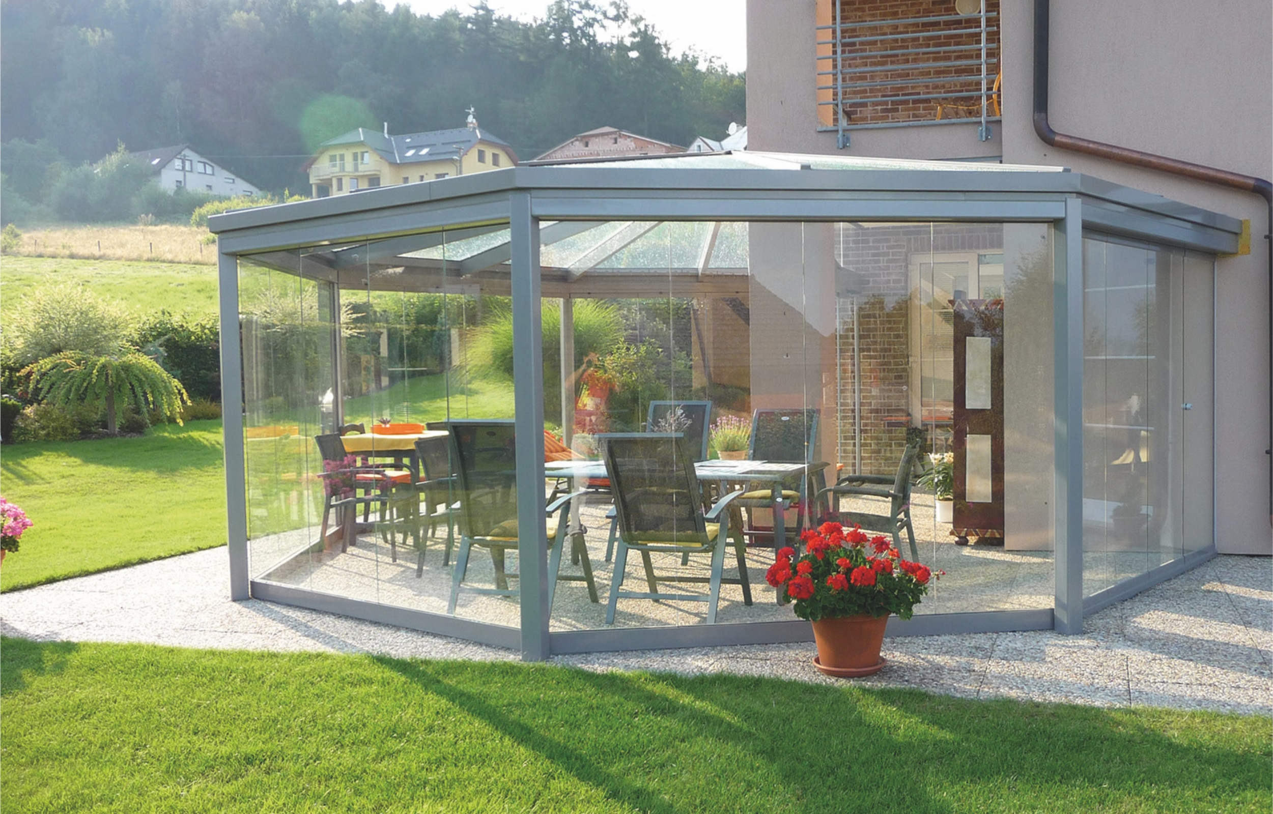 SUNFLEX Slide and Turn Doors being used for a conservatory
