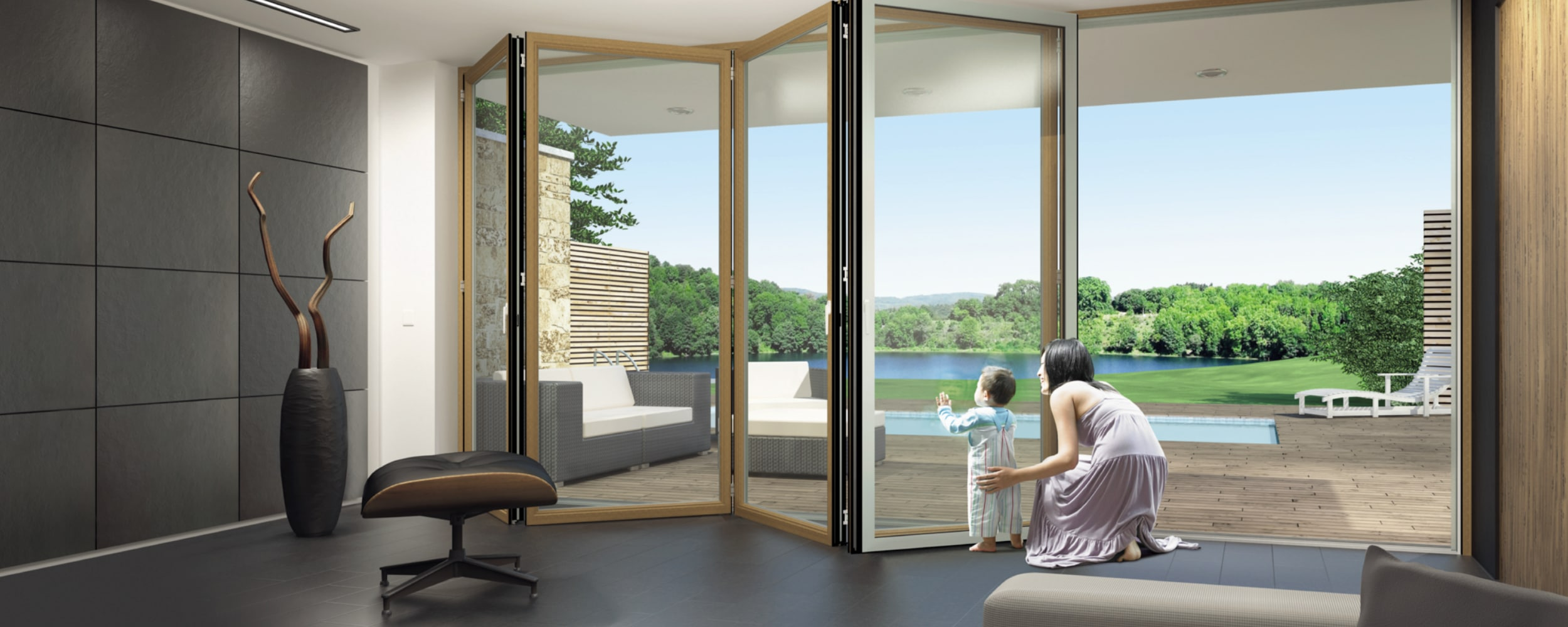 Composite bifold door with beautiful view