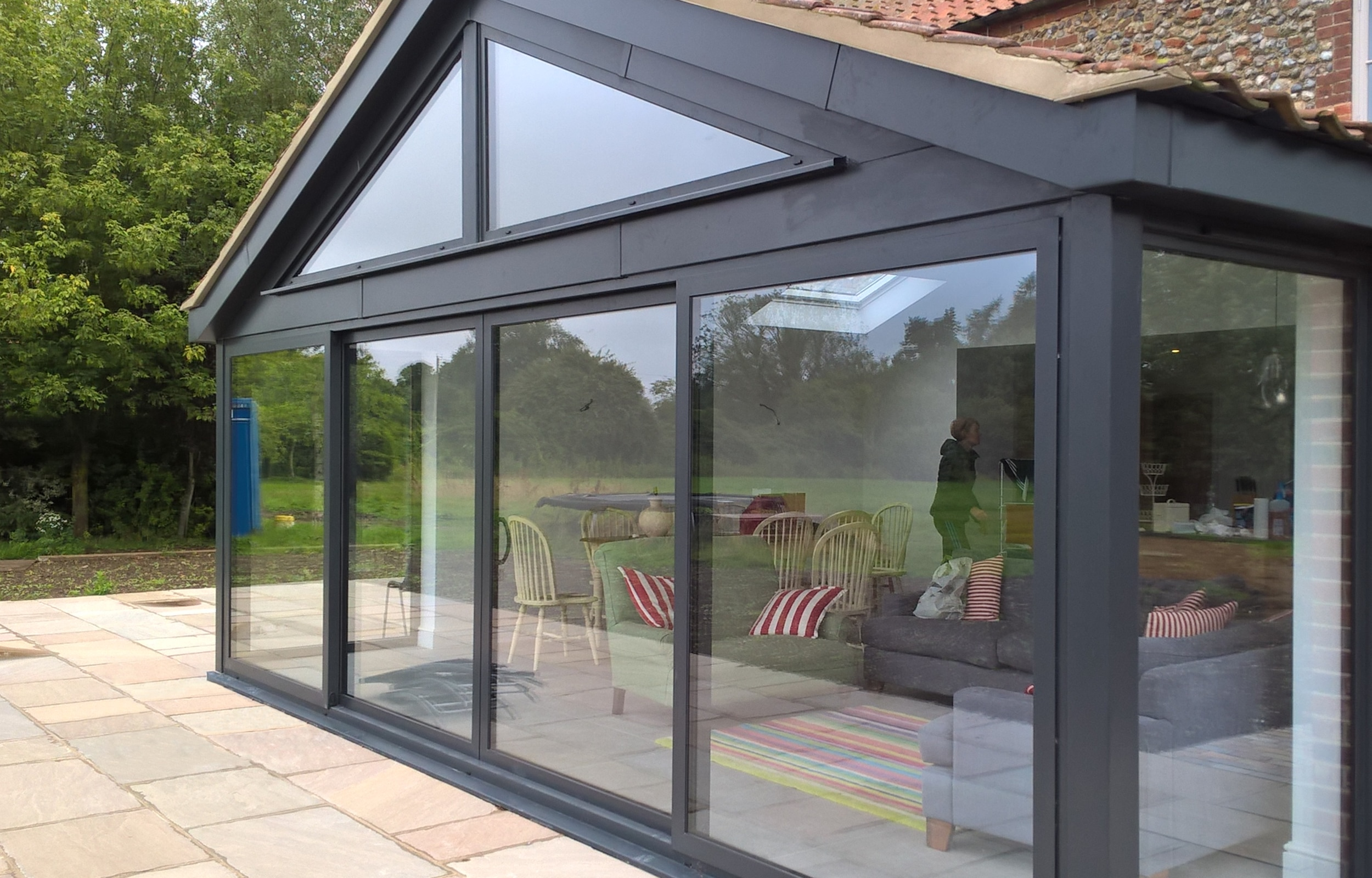 Patio Doors - Patio Sliding Doors in 4 panels with angled windows above