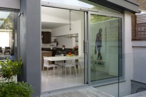 Patio Doors - Patio Sliding Doors in 2 panels with angled window above