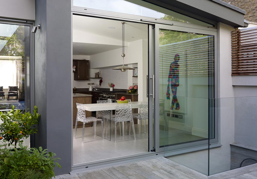 Patio Doors - Patio Sliding Doors in 2 panels with angled window above