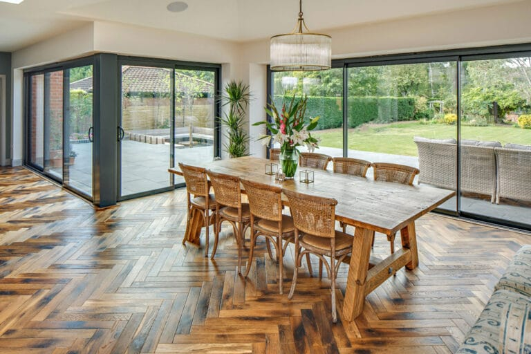 Large open plan kitchen extension with parque flooring