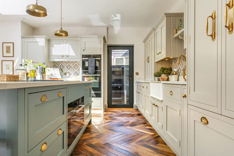 Large open plan kitchen extension with single glazed back door
