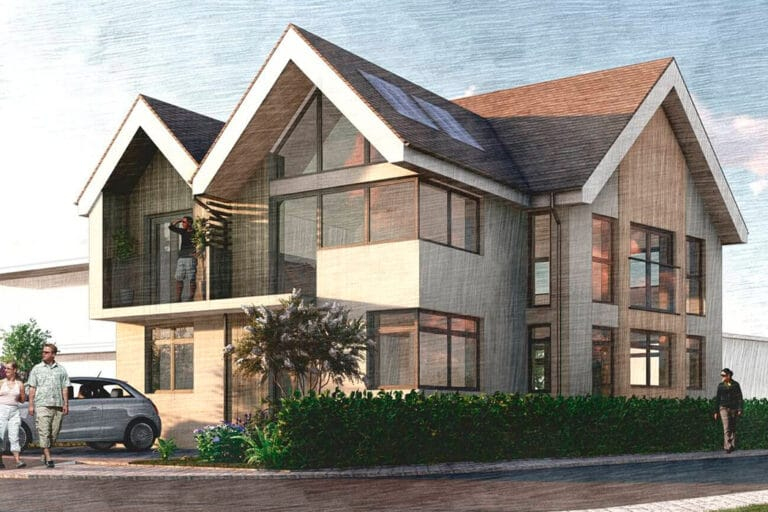 Initial drawings and renders of the Build it Selfbuild Education House at Graven Hill in Bicester