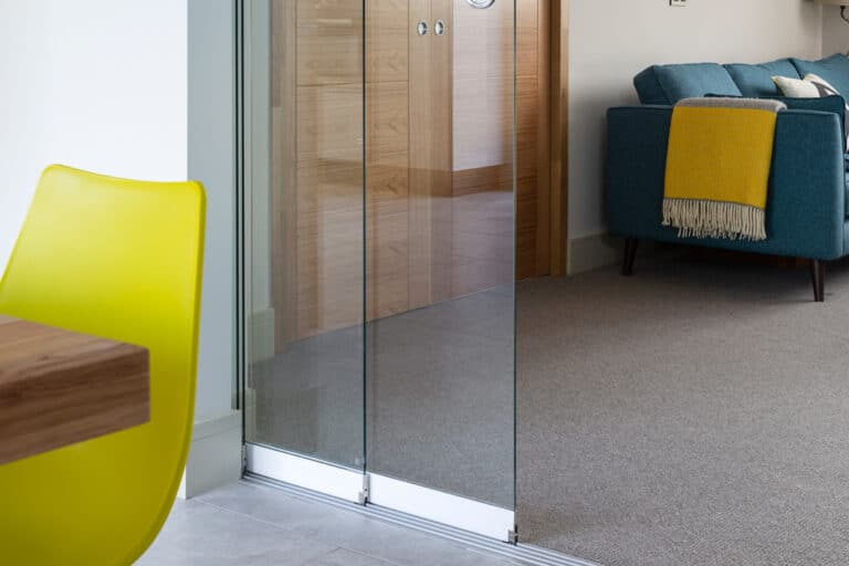 SF20 frameless glass partitions at Build it Selfbuild Education House at Graven Hill in Bicester