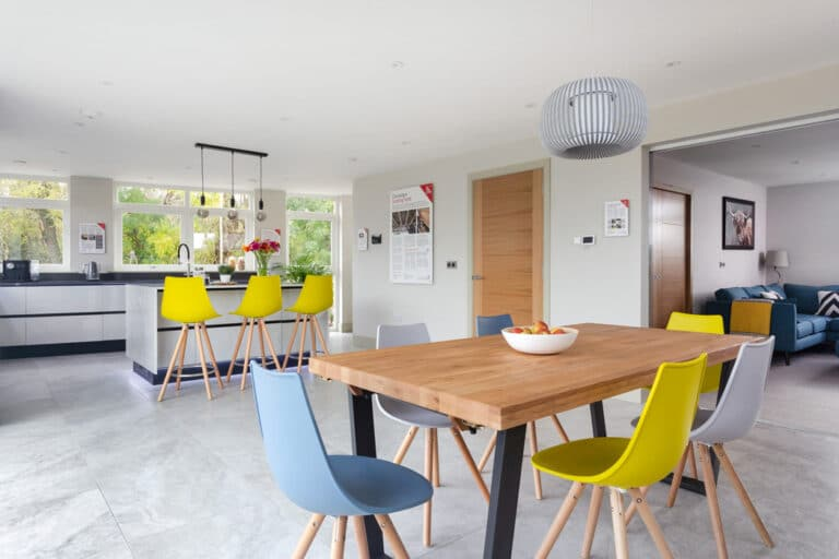 The open plan living space at Build it Selfbuild Education House at Graven Hill in Bicester