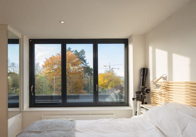 When closed the bifold windows look like any other window system, with the opening divided into three panels