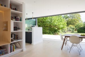 IDSystems theEDGE2.0 sliding doors - Huge 4-panel set of doors that create three-quarter opening, seamlessly connecting inside and out