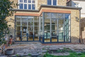 Art Deco Crittall style aluminium heritage French doors and sidelight windows