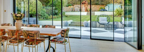 vistaline slide and turn doors open up this extension on to the patio
