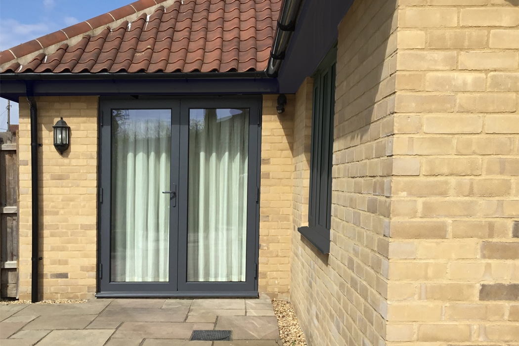 IDSystems Thermo65 aluminium French doors in anthracite grey finish
