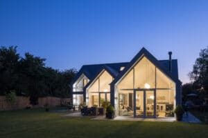 IDSystems Thermo65 aluminium French doors with sidelights and gable end glazing