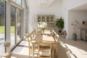 IDSystems Thermo65 aluminium French doors let light into this home