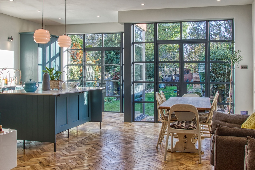 IDSystems Heritage french doors with sidelights and overlight fixed frames