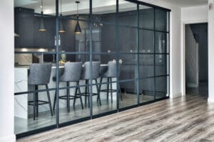 When closed the SF20 doors provide a divide between kitchen and living space